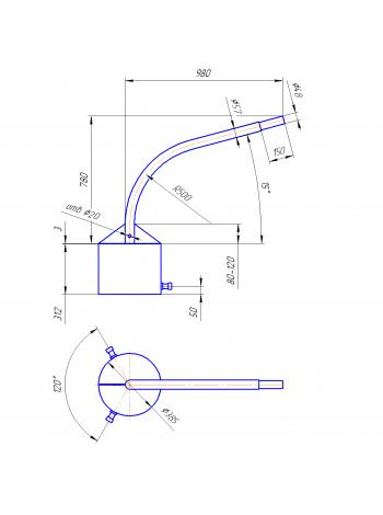 Кронштейн Концевой  К1К-8-10-38 (круглое основание)