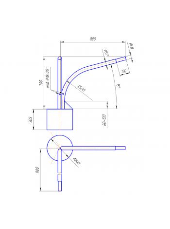 Кронштейн Концевой  К2К-8-10-20-90 (круглое основание)