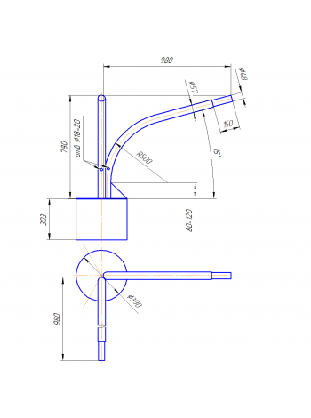 Кронштейн Концевой  К2К-8-10-39 (круглое основание)